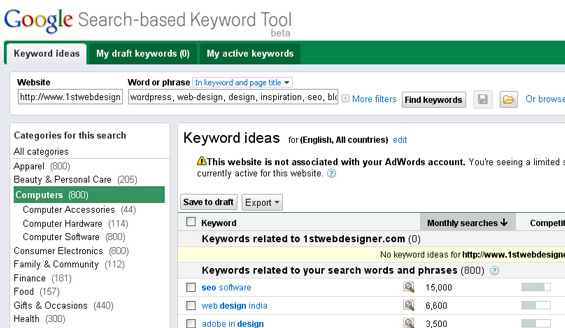 tool to find keywords for your post
